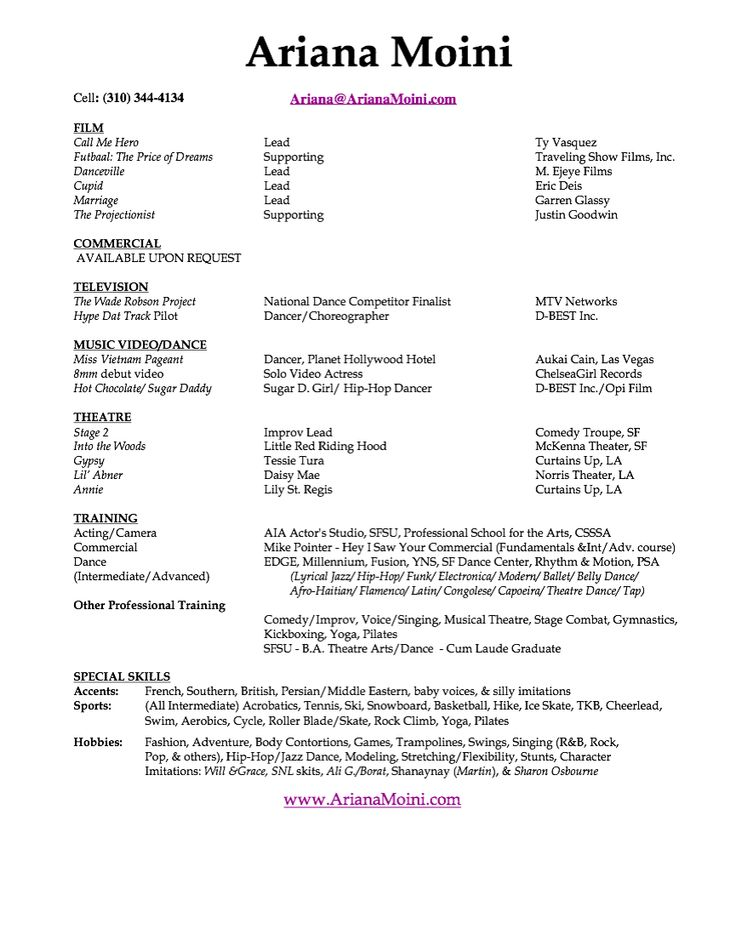 acting resume template free dance teacher cv ballet dancer sample format pdf