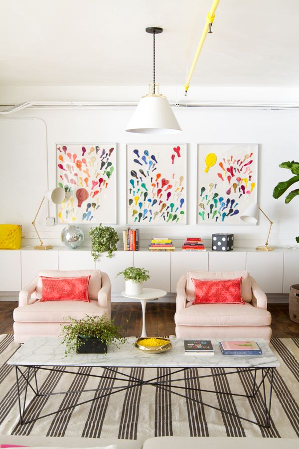 Colorful, modern yet cozy living room decor ideas from The Sweetest Occasion - follow along as Cyd renovates a 100 year old house!