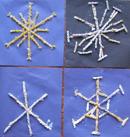 Pasta Snowflakes | Naturally Educational: Crafts Acting, Blue Paintings, Big Snow, Pasta Snowflakes, Glitter Crafts, Paintings Pasta, Dry Pasta, Snowflakes Bentley, Crafts Sticks