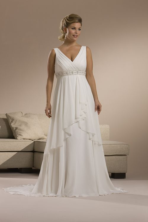 Vintage White V Neck Column Gowns For Beach Wedding With Tiered Design