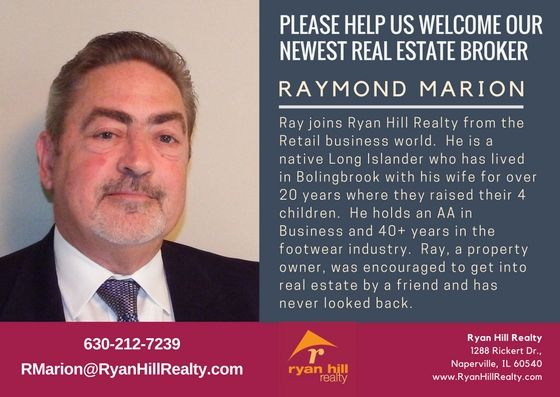 Ryan Hill Realty is growing!  Please help us welcome Ray Marion to our broker team.  We're looking forward to a successful future together.   Interested in joining Ryan Hill Realty?  Visit www.JoinRHR.com to get our Book of Benefits.  Call Christine Chase, at 630 240-5758 or email CChase@RyanHillRealty.com for a confidential conversation today.   #RayMarion #NapervilleRealtor #NapervilleRealEstate #TeresaRyan #RyanHillRealty