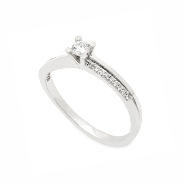 Μονόπετρο δαχτυλίδι με Brilliants λευκόχρυσο Κ18 με καμπύλο σκελετό προς το κεντρικό διαμάντι και σειρέ από μικρά διαμάντια | ΤΣΑΛΔΑΡΗΣ Χαλάνδρι #μονόπετρα #διαμάντια #δαχτυλίδια