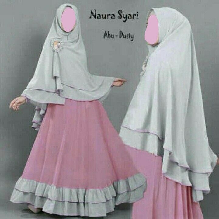 #hijab syari pink and grey