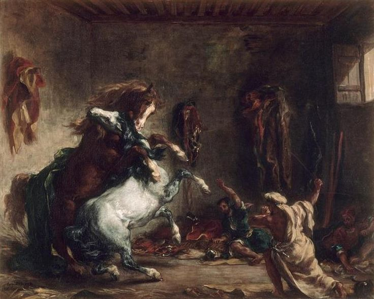 Eugène Delacroix (1798-1863), Chevaux arabes se battant dans une écurie / Arab…