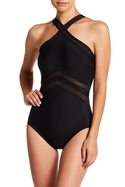 9122cbe43c0af Miracle Suit Solid Halter Mesh Trim One-Piece Swimsuit | Shoes Teen