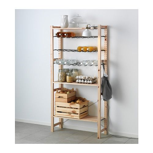 IKEA - IVAR, Shelving unit with bottle racks, Untreated solid pine is a durable natural material that can be painted, oiled or stained according to preference.You can move shelves and adapt spacing to suit your needs.
