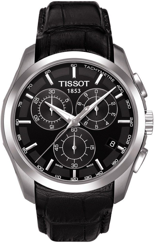 Tissot Men's Couturier T035.617.16.051.00 Black Leather Quartz Watch with Black Dial: Tissot: Amazon.co.uk: Watches