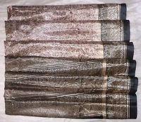 USED BUT WEARABLE ART SILK Vintage Sari Saree Dup Ga44 Black Coffee 5 yds #ABRQZ