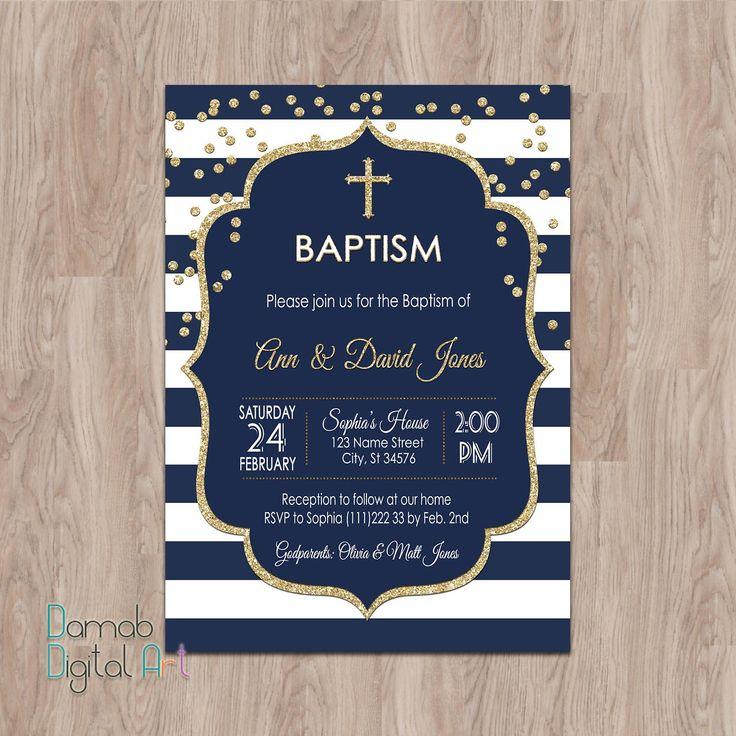 Marina de guerra y oro bautismo invitación muchacho bautismo