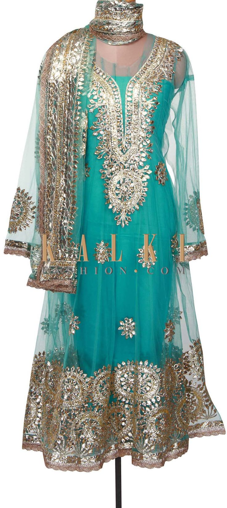 Buy Online from the link below. We ship worldwide (Free Shipping over US$100) http://www.kalkifashion.com/blue-semi-stitched-suit-adorn-in-applique-embroidery-only-on-kalki.html