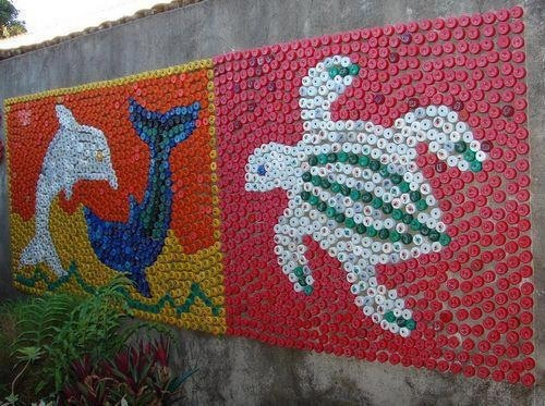upcycled plastic bottle caps into wall art