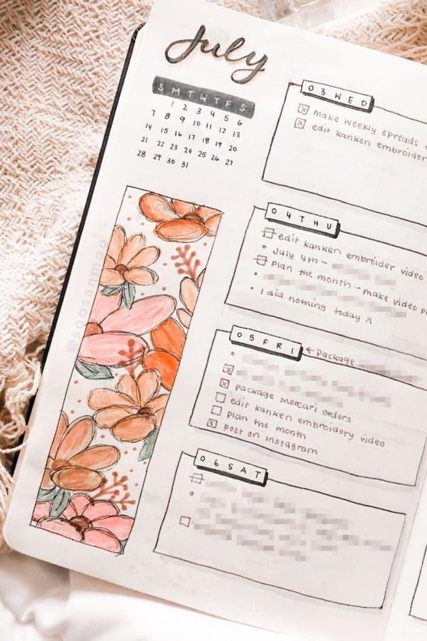 35 Adorable Bullet Journal Flower Ideas For 2019 – Bullet journal