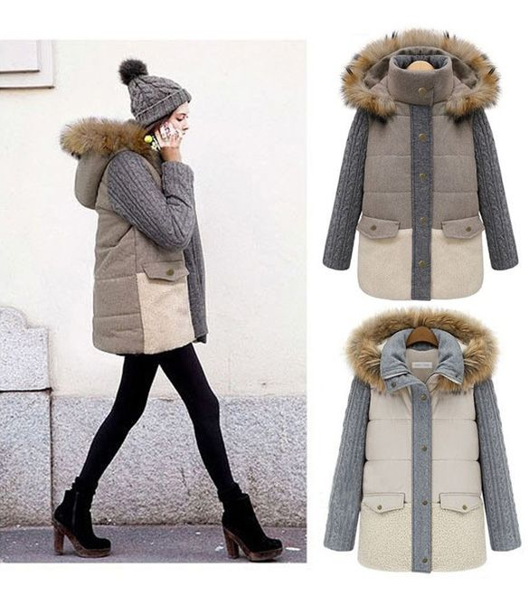 Winter Women Fashion Down Jackets Single-breasted Faux Fur Long Sleeved Coat Jacket New Arrival