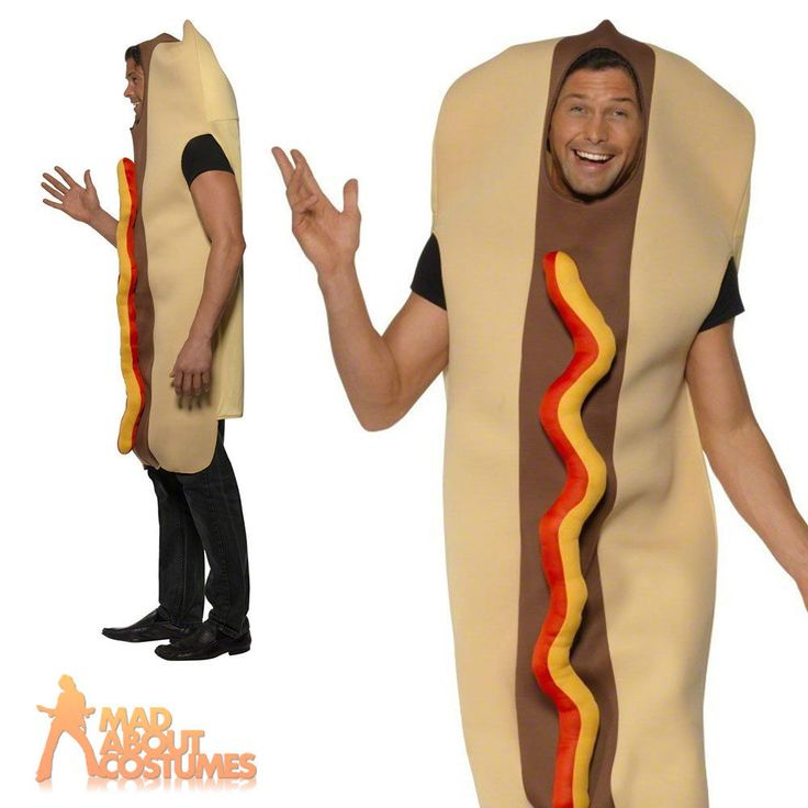 Adult Giant Hot Dog Costume Unisex Food and Drink Funny Fancy Dress Outfit New