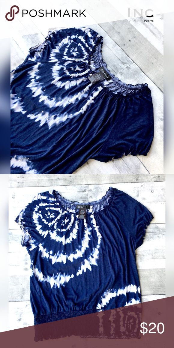 Tie dye indigo/white with silver embellishments Scoop neck, cap sleeve and smocked waist.  Silver sparkly studs add just a touch of glam.  Very soft and comfy feel. INC International Concepts Tops