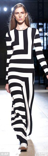 Op-art: There was a Sixties feel in monochrome pieces with graphic black-and-white stripes...