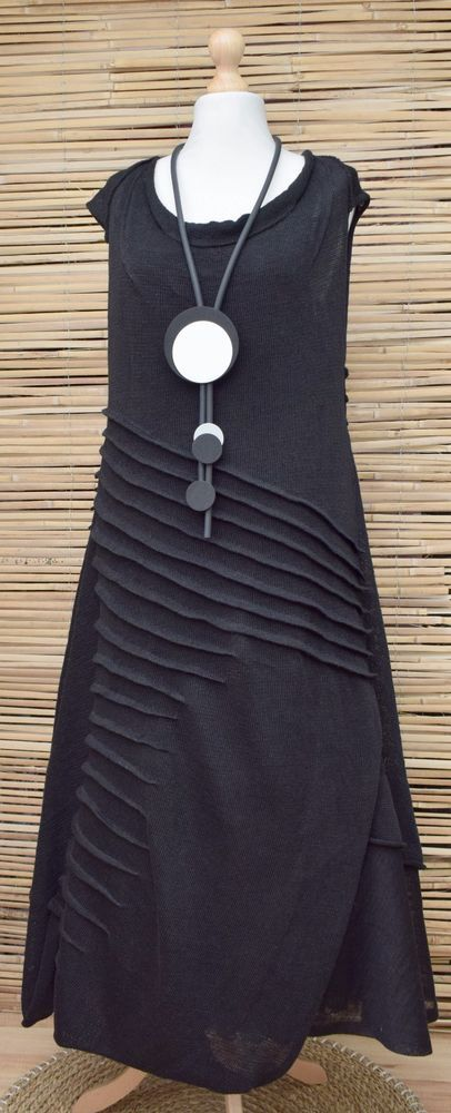 "100% Knit Linen. Zuza Bart . Black Colour. however will be very close to real colour. Length Dress: 52"". Beautiful Amazing. the picture may not reflect the actual colour of the item. Very Long Dress With Draped Detail. 