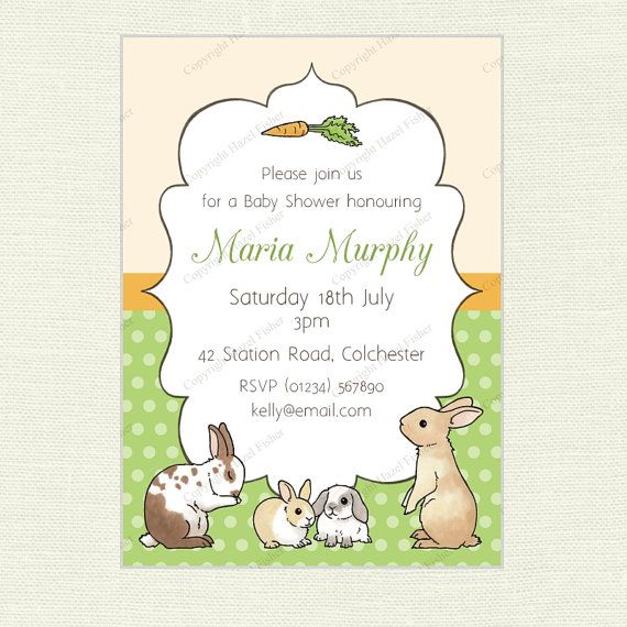 Rabbits Invitation printable bunny digital invite for birthday parties or baby showers by hfcSupplies on Etsy
