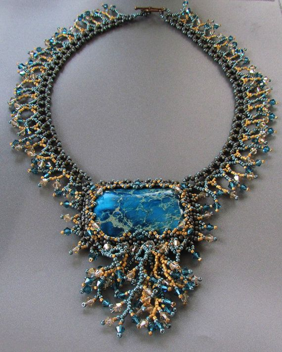 "Coral Reef Beadwork Necklace March 2012 EBWC Challenge ""Destination"" -Isabella's vintage Swarovski & Miyuki jewelry etsy shop"