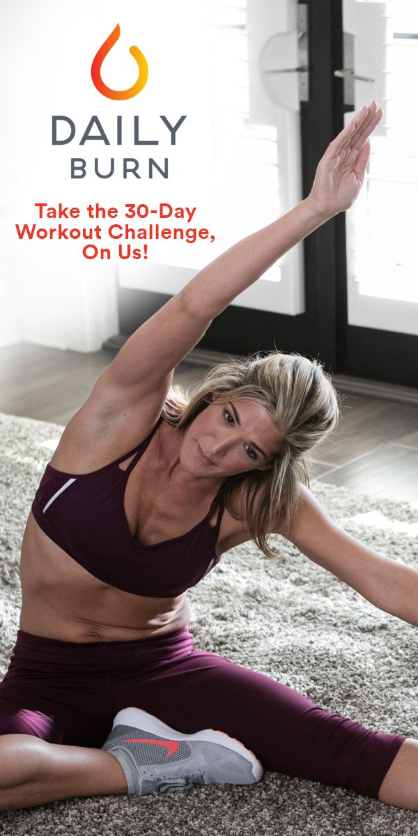 Sign up to take the 30-Day Workout Challenge (+50% Off!)  Start working out with Daily Burn! Enjoy hundreds of amazing workouts taught by expert, certified trainers. No matter your fitness level or schedule, we've got the perfect workout for you. Ready for the challenge? Try Daily Burn FREE for 30 days. PLUS, get 50% off your next month after your free trial, for a limited time.