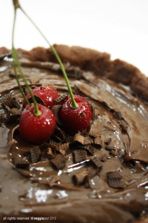 Double Chocolate Tart with Cherries | Honest Cooking
