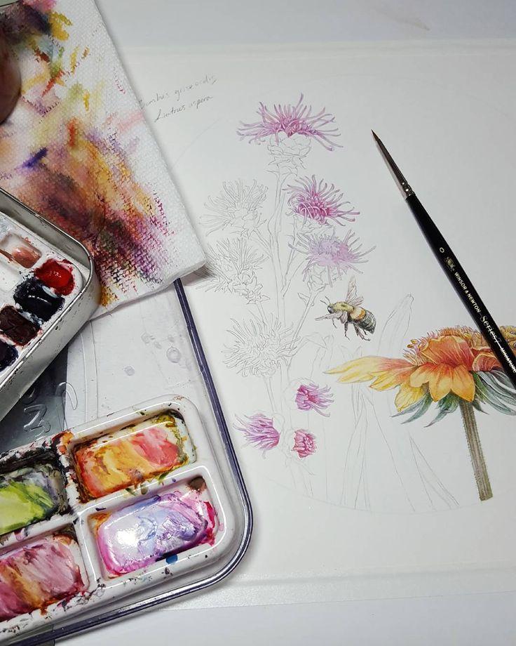 Quinacridrone pigments for those fantastic pinks, oranges and reds.  #bumblebees for @pollinatorpartnership  #botanicalartist #botanical #botanicalart #flowers #pollinators #inspiredbynature #bees #bumblebee #insectart #inspiredbynature