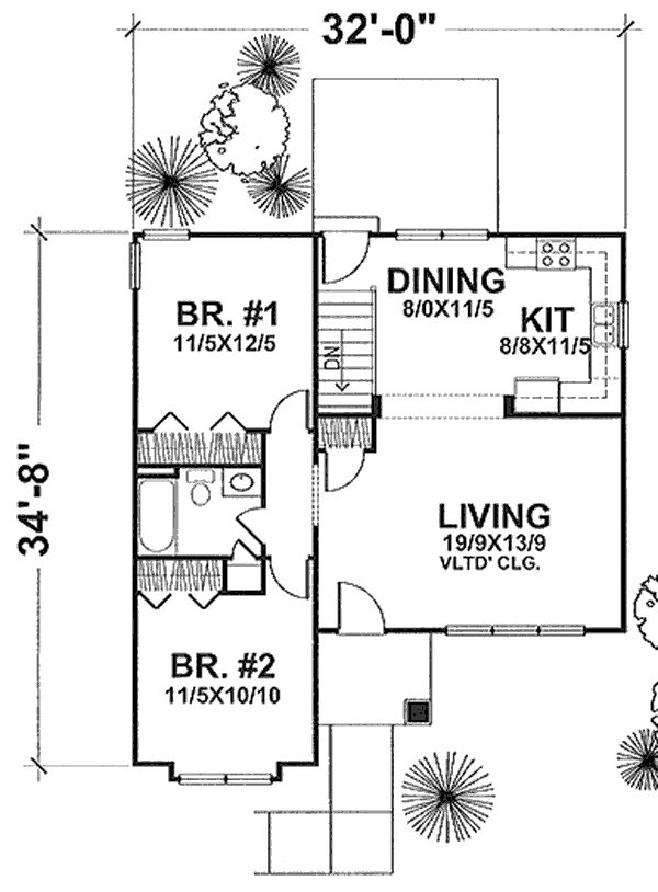 The Marilyn 1663 - 2 Bedrooms and 1 Bath | The House DesignersPlan #1663: The Marilyn Heated Area: 936 Sq. Ft. Width: 32 Ft.    Depth: 36 Ft.  Bedrooms: 2           Bath: 1 Garage: 0 Styles: Cottage, Craftsman Foundation: Basemen - See more at: http://www.thehousedesigners.com/plan/the-marilyn-1663/#sthash.B4RmUFvX.wZb4SHiu.dpuf