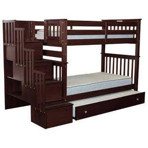 Bedz King Twin Bunk Bed with Trundle Finish: Cappuccino