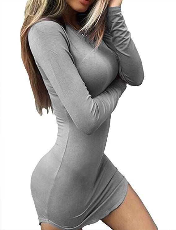 Haola Women s Sexy Bodycon Tight Long Sleeve Mini T Shirts Dresses Irregular  Hem S Grey 76917fd3a