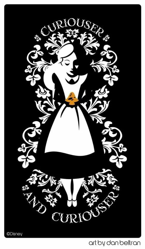 "Alice in Wonderland quote: ""Curioser and curioser"" & beautiful black-white, woodcut-inspired illustration."