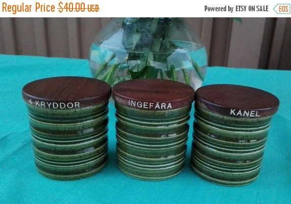 Spring sale 30% Three Lovely Green Ceramic Kitchen Containers