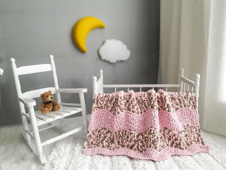 Excited to share the latest addition to my #etsy shop: Crochet Baby Blanket ~ Baby Blanket ~ Crochet Blanket ~ Crib Blanket ~ Baby Girl Blanket ~ Pink Beige Tan ~ Chenille blanket ~ Baby Shower http://etsy.me/2ilWqU2 #housewares #bedroom #bedding #babyblanket #crochetblanket