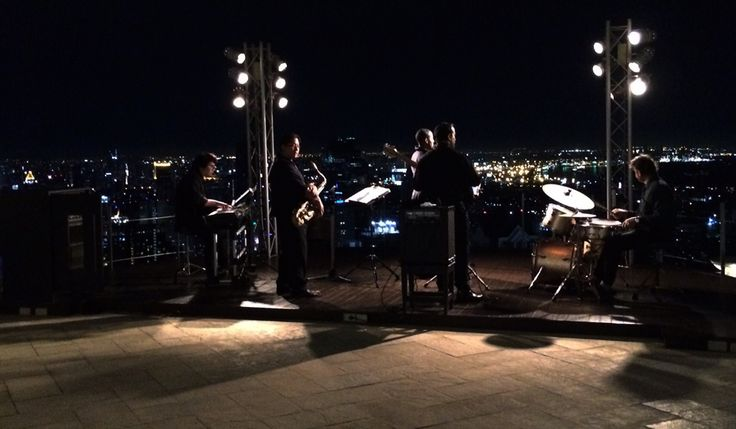 jazz concert over the roofs of bangkok at lebua state tower, sirocco highest rooftop restaurant in the world. Located in Thailand. Travel, backpacking, southeast asia