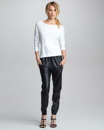 "Raglan Slub Sweatshirt & Leather Jogging Pants by Vince at Neiman Marcus. ""jogging pants"" / ""sweat pants"" in leather -- LMAO -- I guess you would sweat"