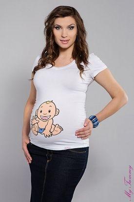 Camiseta premamá de manga corta con dibujo de niño y cuello en V. El regalo perfecto para una mamá que espera un niño.