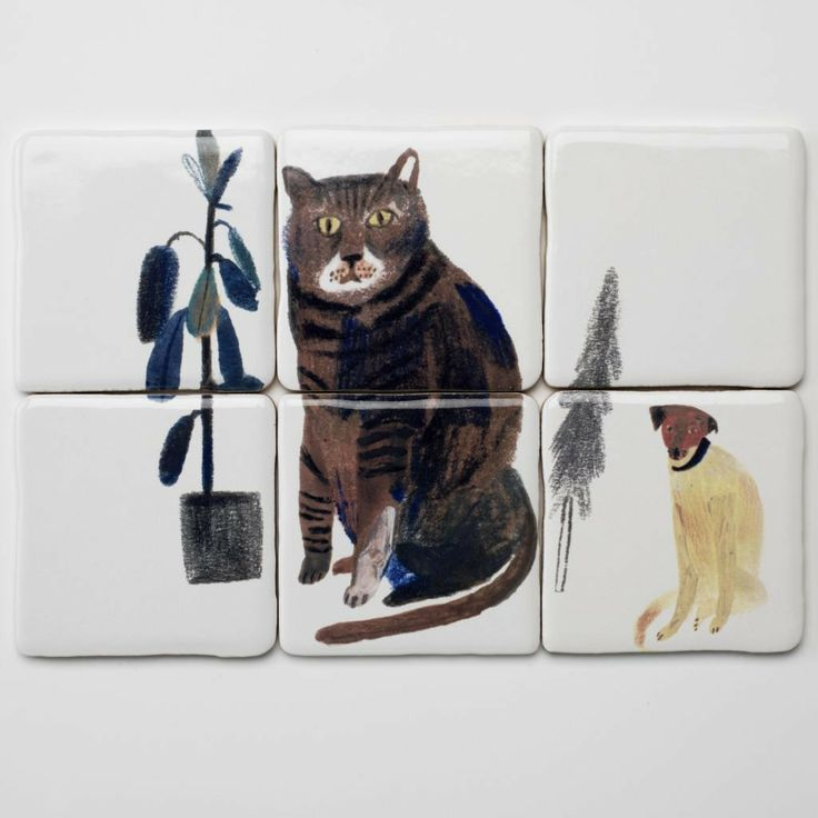 Cat and dog tiles - Laura Carlin