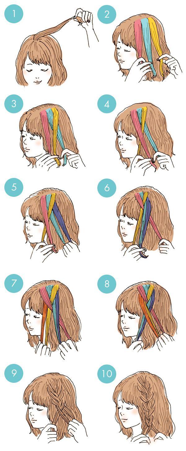 アレンジの定番編み込み。アレンジをするならまずは編み込みの方法を覚えましょう!  1 トップの髪の毛を少量すくいます。 2 髪の毛を3つに分けます。 3 後頭部側の毛束(黄色)を真ん中の毛束(水色)に交差させます。 4 後頭部側からもってきた毛束(黄色)に耳側の毛束(ピンク)を交差させます。 5 後頭部側に移動させた毛束(水色)にあたらしく毛束を追加します。 6 5の毛束を交差させます。 7 耳側の毛束にもあたらしく毛束を追加します。 8 7の毛束を交差させます。 9 5~7を繰り返していけば、編み込みができます。 10 拾える毛束がなくなったら最後は三つ編みをして完成!