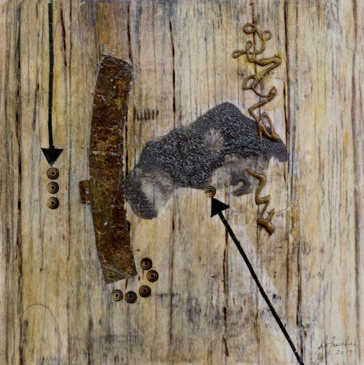 Le point G...  Techniques mixtes.  Composition numérique, rouille, colle chaude transférée sur bois. Format 10 X 10.