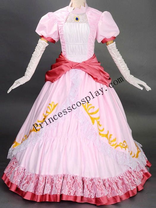 Super Mario Bros Princess Peach Cosplay Party Dress Female Costume Custom Any Size