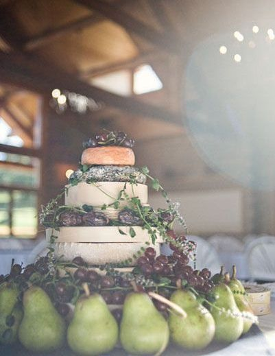 Balance the flavours in a rustic cheese tower with a selection of fresh and dried fruit. It looks pretty, too! | http://greatweddingfinds.tumblr.com/page/6 | via Eternal Bridal