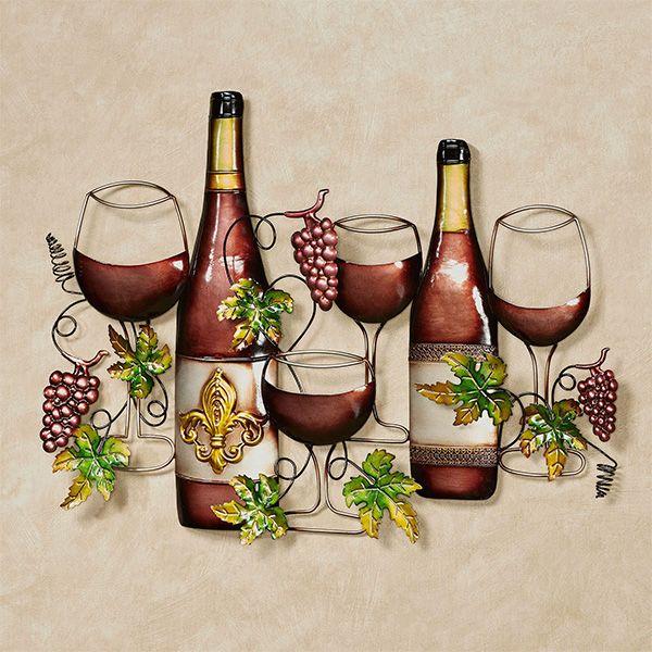 Fleur De Wine Metal Wall Art Wine Wall Art Wine Wall Decor Wine Bottle Decor