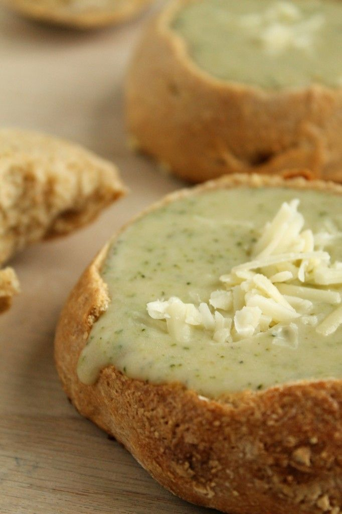 Broccoli White Cheddar Soup ..... oh, in a bread bowl too!
