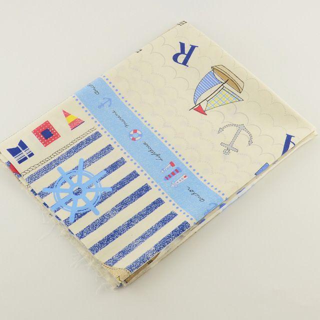 50 см x 160 см / кусок белого хлопчатобумажная ткань якорь печатные для стегальные дети платье постельное белье тильда ткань швейные лоскутное Tecido