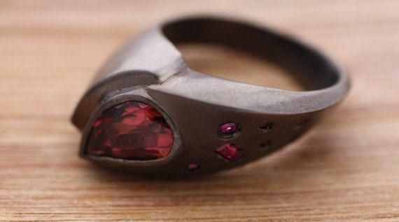 Turmaline pear shape ring / Sterling silver ring by PetrosJewels
