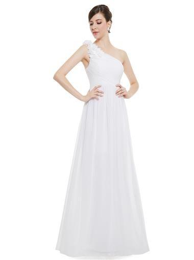 Fancy One Shoulder Floral Padded White Wedding Guest Dress everpretty floral dress