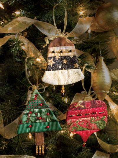 """Beaded quilted ornaments  Size: Bell: 5"""" x 5 1/8"""". Tree: 5"""" x 6 3/4"""". Ball: 5 1/4"""" x 6 1/8""""."""