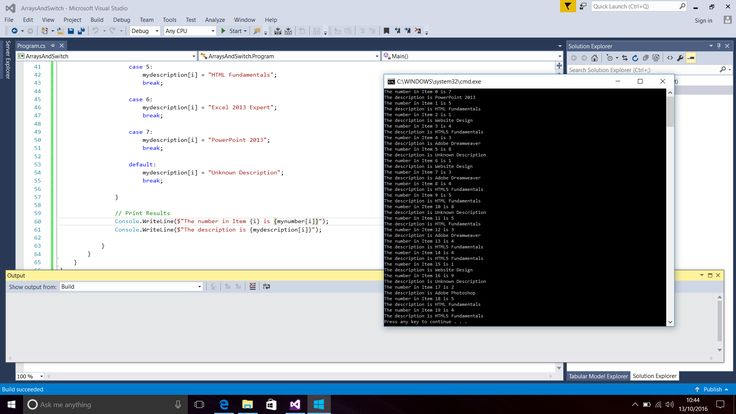 Screenshot of C# Code for Arrays and Switch Statement with the Displayed Results in the Console Window.  In Visual Studio 2015.  Taken on 13 October 2016.