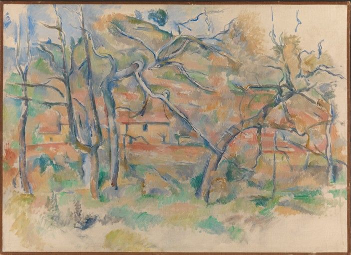 Titre de l'image : Paul Cézanne - Trees and houses, Provence