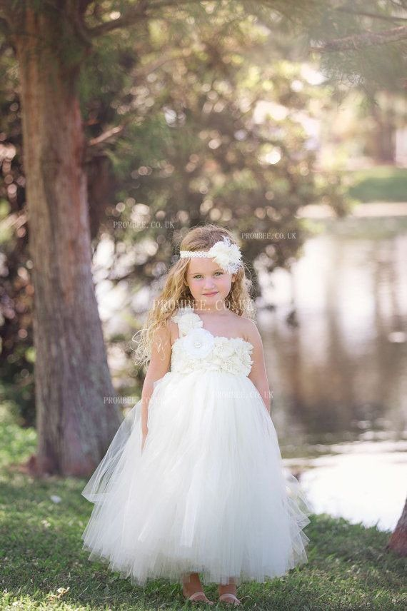 One-Shoulder Ankle-Length Ball Gown Tulle Flower Girl Dress With Hand-Made Flowers #wedding #weddingphotography #weddinghairstyles #weddingflowers #we...