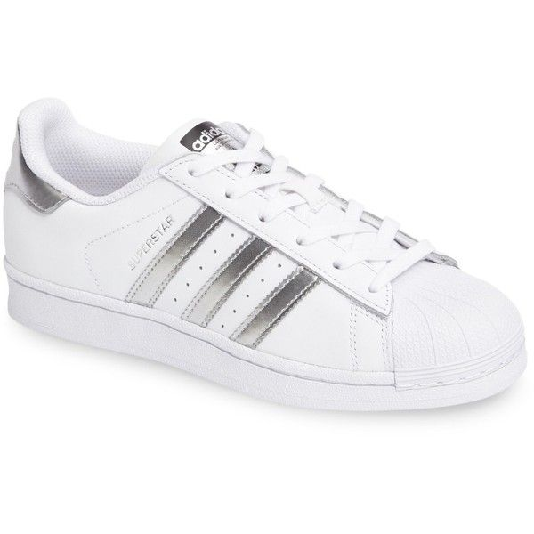Adidas \'Superstar\' Sneaker (Women) (€68) ❤ liked on Polyvore featuring shoes, sneakers, adidas, adidas sneakers, adidas trainers, adidas shoes, leather footwear and leather trainers